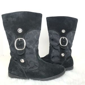 Coach Signature Meyer Black Pull On Boots Size 7.5